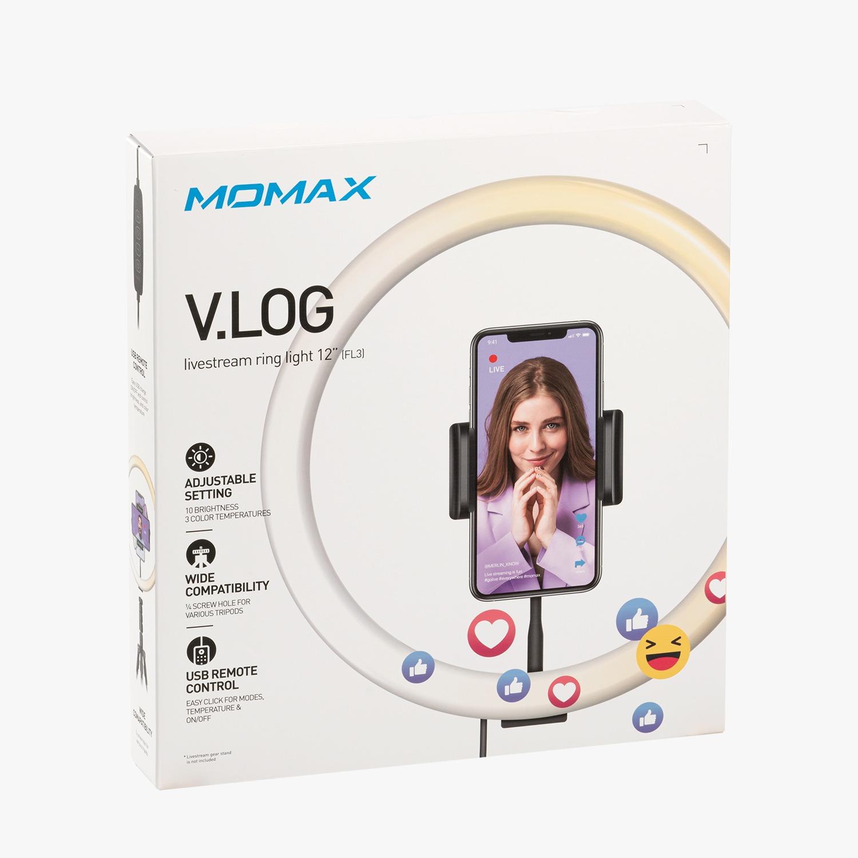 Momax Vlog YouTube Video Canlı Akış Fotoğrafçılığı için 12 inç RGB Kısılabilir Selfie Halka Işığı