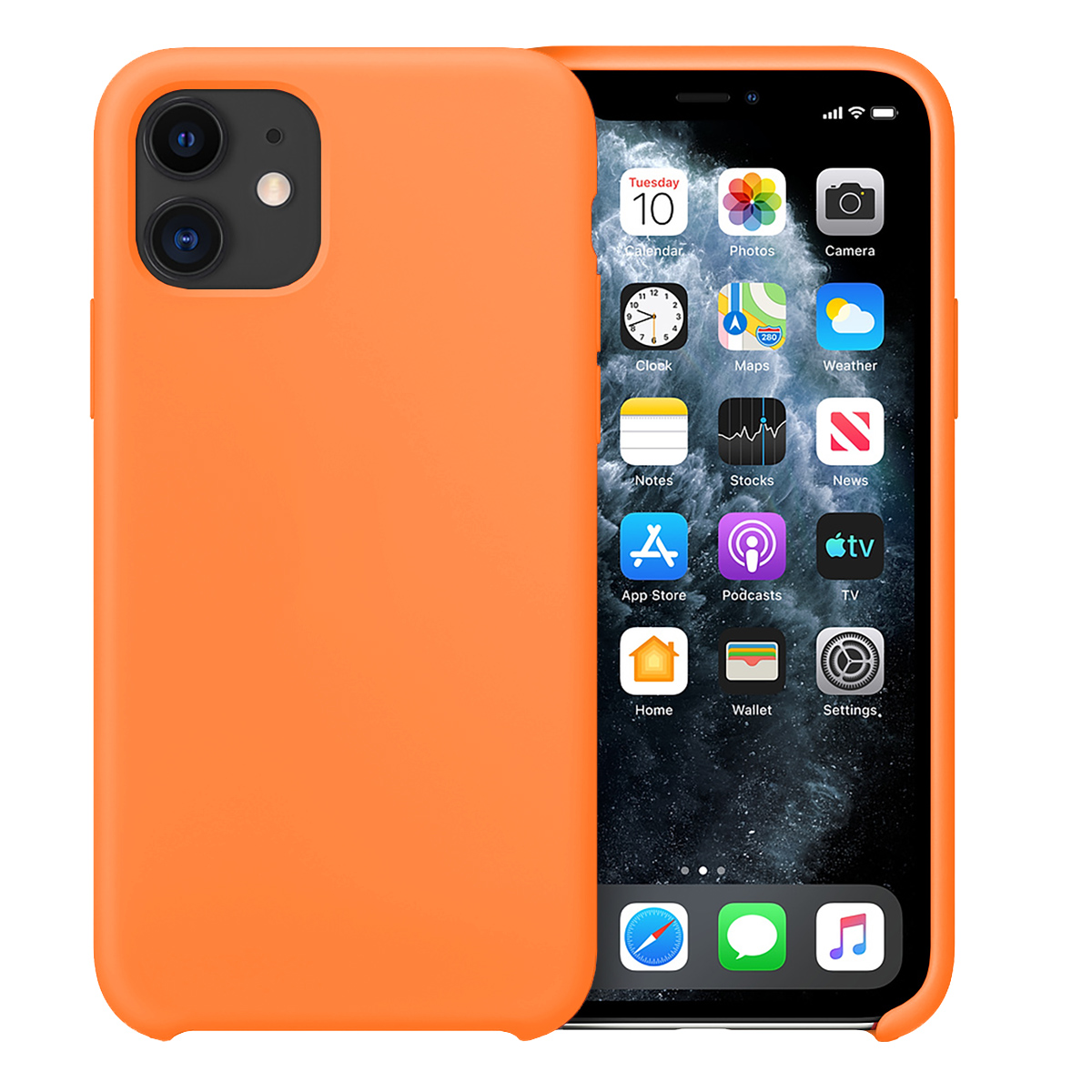 Buff iPhone 11 Rubber Fit Kılıf Light Orange