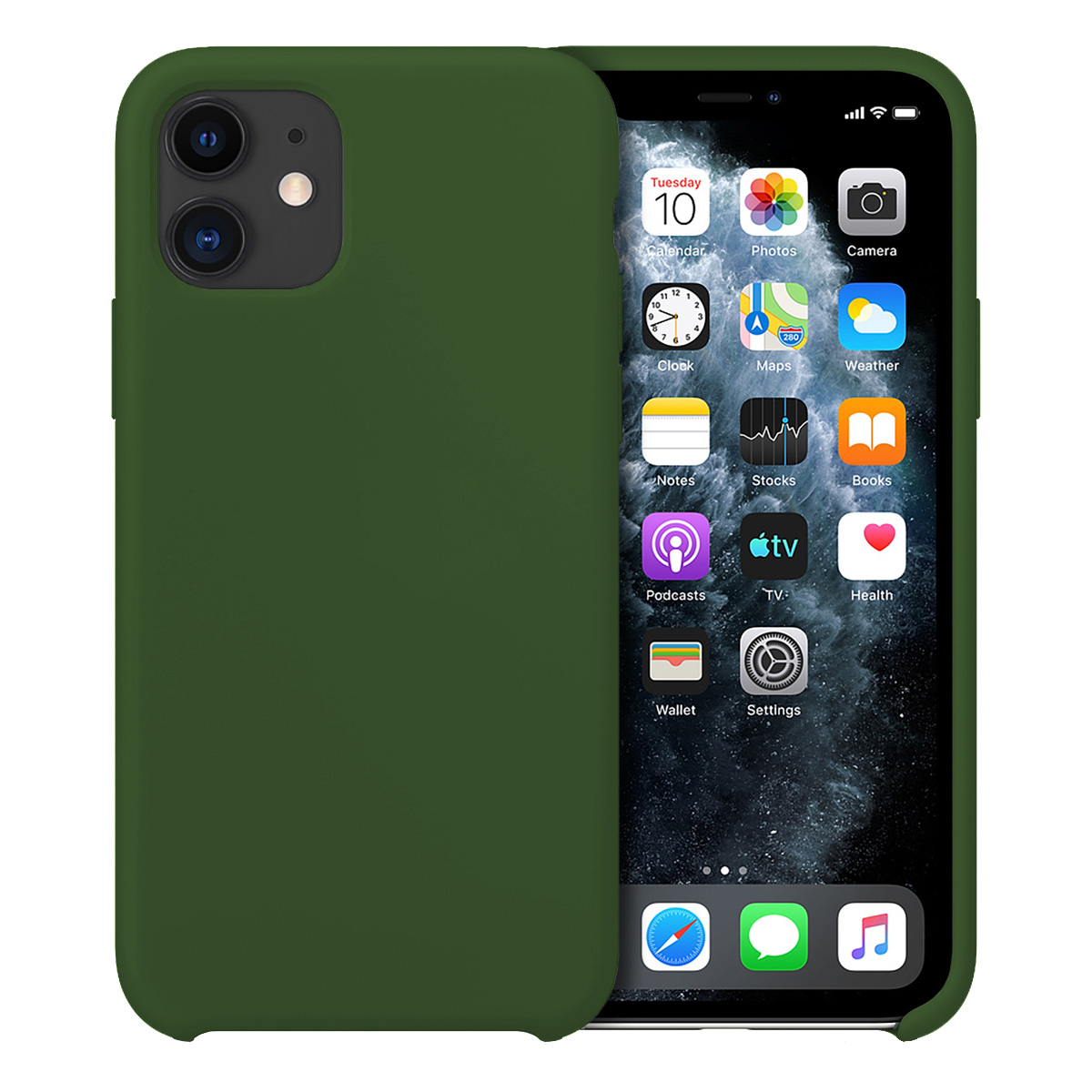 Buff iPhone 11 Rubber Fit Kılıf Dark Green