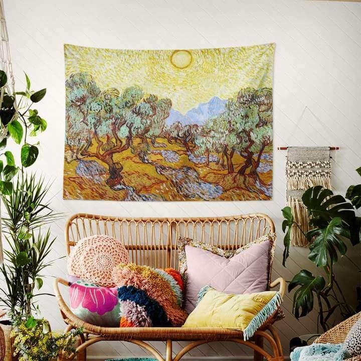 Olive Trees with Yellow Sky and Sun Duvar Örtüsü