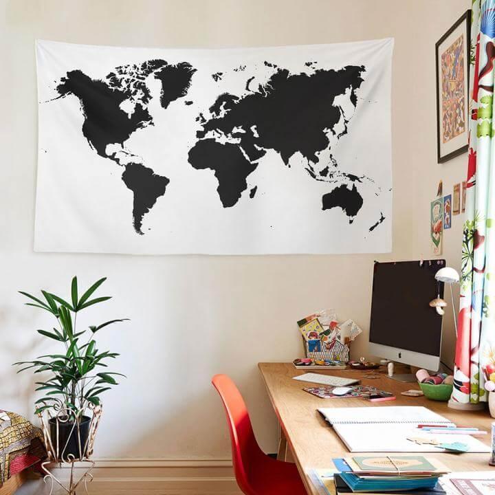 World Map Black Duvar Örtüsü