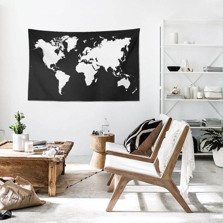 World Map White Duvar Örtüsü