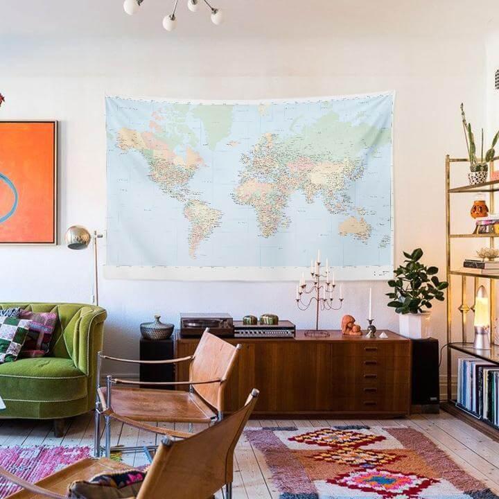 World Map Duvar Örtüsü