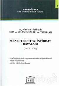 Açıklamalı - İçtihatlı İcra ve İflas Davaları ve Tatbikatı, Menfi Tespit ve İstirdat Davaları (Md. 72-73)