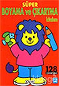 Süper Boyama ve Çıkartma Kitabım Aslan 128 Çıkartma
