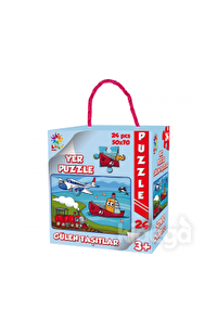 Gülen Taşıtlar Yer Puzzle 24 Parça